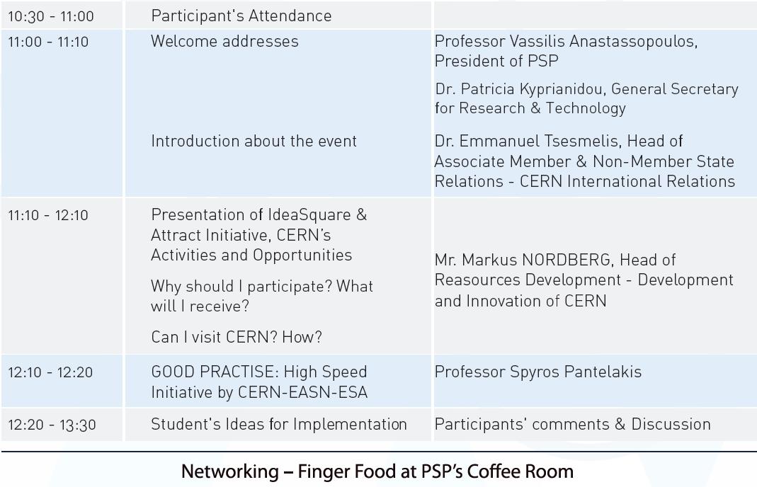 CERN - Επιστημονικό Πάρκο Πατρών -  κλειστή εκδήλωση παρουσίασης & συμμετοχής στις δράσεις IdeaSquare & ATTRACT